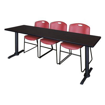 84 W Cain Training Table with Chairs Tabletop Finish: Mocha Walnut, Chair Finish: Burgundy