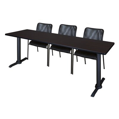 84 W Cain Training Table with Chairs Tabletop Finish: Mocha Walnut