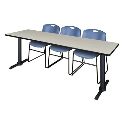 84 W Cain Training Table with Chairs Chair Finish: Blue, Tabletop Finish: Maple