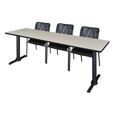 84 W Cain Training Table with Chairs Tabletop Finish: Maple