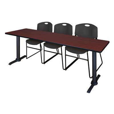 84 W Cain Training Table with Chairs Tabletop Finish: Mahogany, Chair Finish: Black