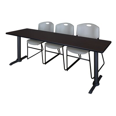 84 W Cain Training Table with Chairs Tabletop Finish: Mocha Walnut, Chair Finish: Gray