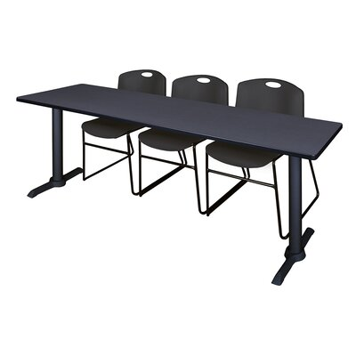 84 W Cain Training Table with Chairs Tabletop Finish: Gray, Chair Finish: Black