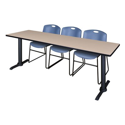 84 W Cain Training Table with Chairs Tabletop Finish: Beige, Chair Finish: Blue