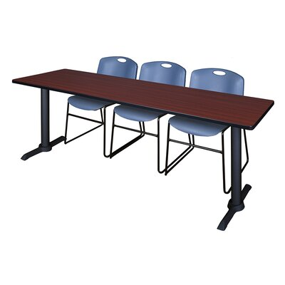 84 W Cain Training Table with Chairs Tabletop Finish: Mahogany, Chair Finish: Blue