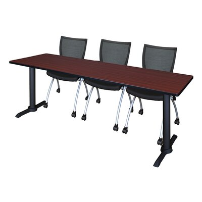 84 W Cain Training Table with Chairs Tabletop Finish: Mahogany