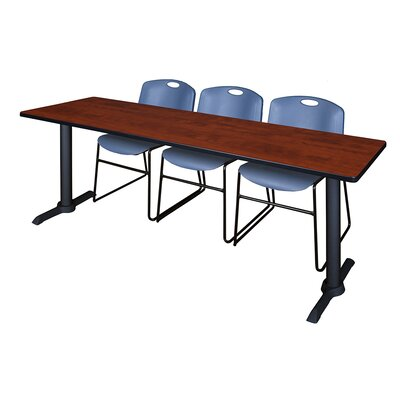 84 W Cain Training Table with Chairs Tabletop Finish: Cherry, Chair Finish: Blue