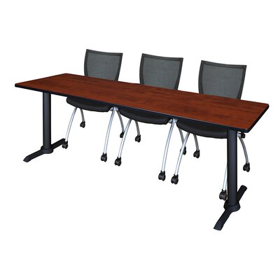 84 W Cain Training Table with Chairs Tabletop Finish: Cherry
