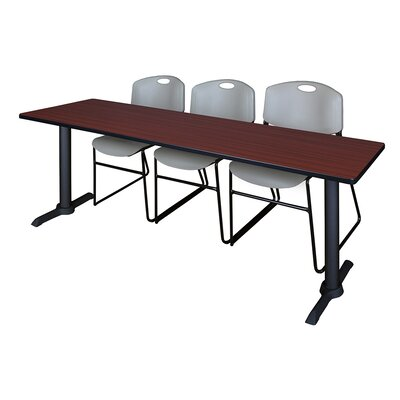 84 W Cain Training Table with Chairs Tabletop Finish: Mahogany, Chair Finish: Gray