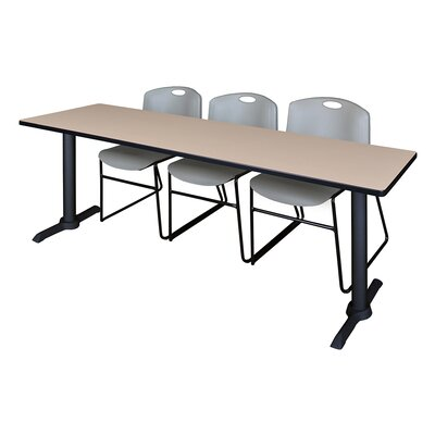 84 W Cain Training Table with Chairs Tabletop Finish: Beige, Chair Finish: Gray