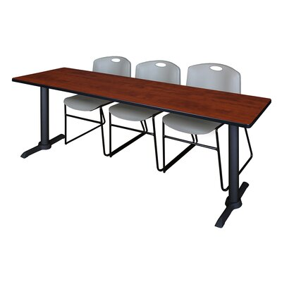 84 W Cain Training Table with Chairs Tabletop Finish: Cherry, Chair Finish: Gray