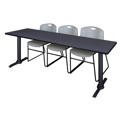 84 W Cain Training Table with Chairs Tabletop Finish: Gray, Chair Finish: Gray