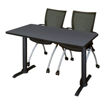Cain Training Table with Chairs Size: 42 W x 24 D, Tabletop Finish: Gray