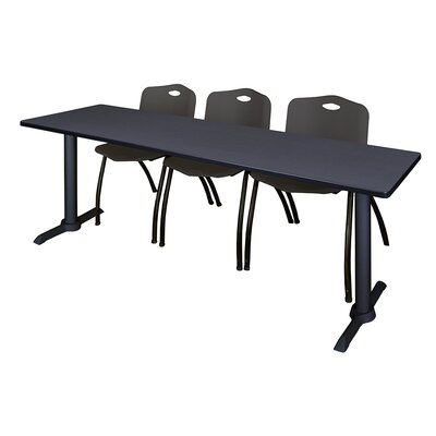 84 W Cain Training Table with Chairs Tabletop Finish: Mocha Walnut, Chair Finish: Black