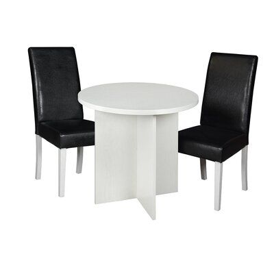 Niche Mod 3 Piece Dining Set Finish: White Wood Grain