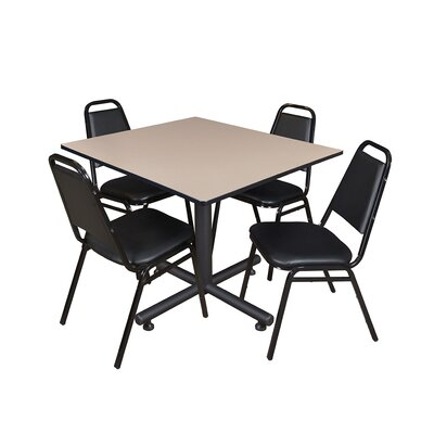 Kobe Square 5 Piece Breakroom Table and Chair Set Table Finish: Beige Laminate