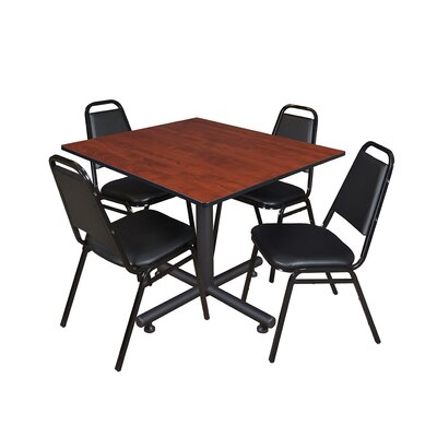 Kobe Square 5 Piece Breakroom Table and Chair Set Table Finish: Cherry Laminate
