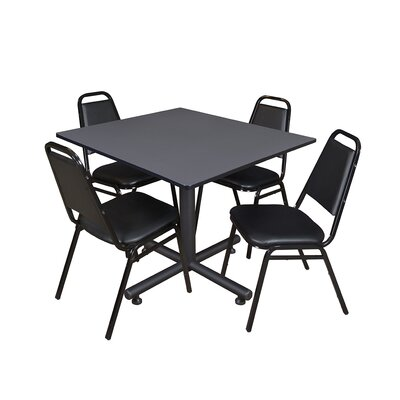 Kobe Square 5 Piece Breakroom Table and Chair Set Table Finish: Gray Laminate