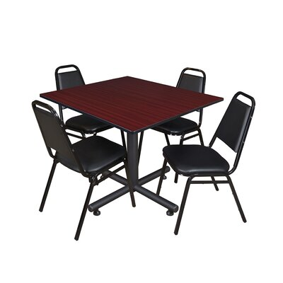 Kobe Square 5 Piece Breakroom Table and Chair Set Table Finish: Mahogany Laminate