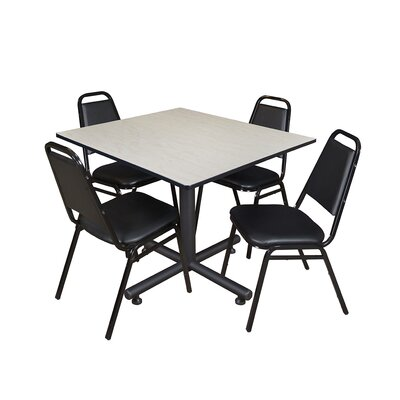 Kobe Square 5 Piece Breakroom Table and Chair Set Table Finish: Maple Laminate