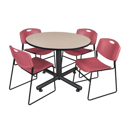 Kobe Round 5 Piece Breakroom Table and Chair Set Table Finish: Beige, Chair Finish: Burgundy