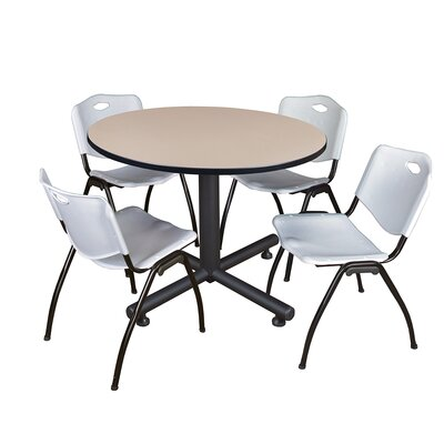 Kobe Round 5 Piece Breakroom Table and Chair Set Table Finish: Beige, Chair Finish: Gray