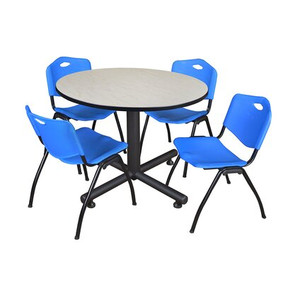 Kobe Round 5 Piece Breakroom Table and Chair Set Table Finish: Maple, Chair Finish: Blue