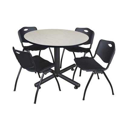 Kobe Round 5 Piece Breakroom Table and Chair Set Table Finish: Maple, Chair Finish: Black