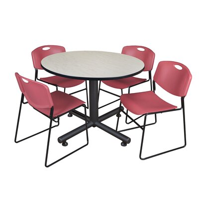Kobe Round 5 Piece Breakroom Table and Chair Set Table Finish: Maple, Chair Finish: Burgundy