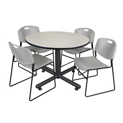 Kobe Round 5 Piece Breakroom Table and Chair Set Table Finish: Maple, Chair Finish: Gray