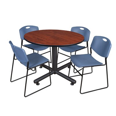 Kobe Round 5 Piece Breakroom Table and Chair Set Table Finish: Cherry, Chair Finish: Blue