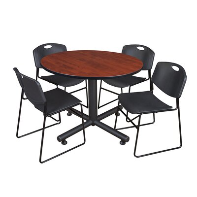 Kobe Round 5 Piece Breakroom Table and Chair Set Table Finish: Cherry, Chair Finish: Black
