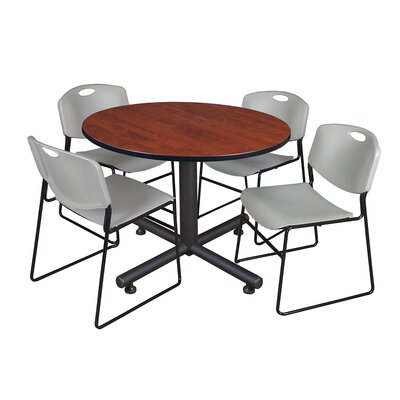 Kobe Round 5 Piece Breakroom Table and Chair Set Table Finish: Cherry, Chair Finish: Gray