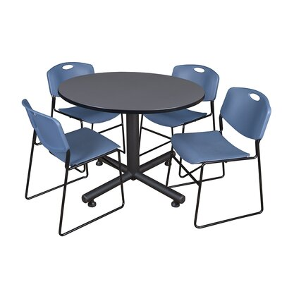 Kobe Round 5 Piece Breakroom Table and Chair Set Table Finish: Gray, Chair Finish: Blue