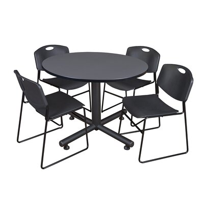 Kobe Round 5 Piece Breakroom Table and Chair Set Table Finish: Gray, Chair Finish: Black