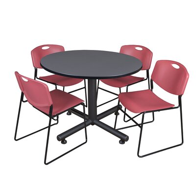 Kobe Round 5 Piece Breakroom Table and Chair Set Table Finish: Gray, Chair Finish: Burgundy
