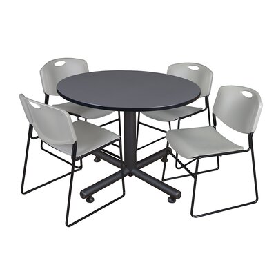 Kobe Round 5 Piece Breakroom Table and Chair Set Table Finish: Gray, Chair Finish: Gray
