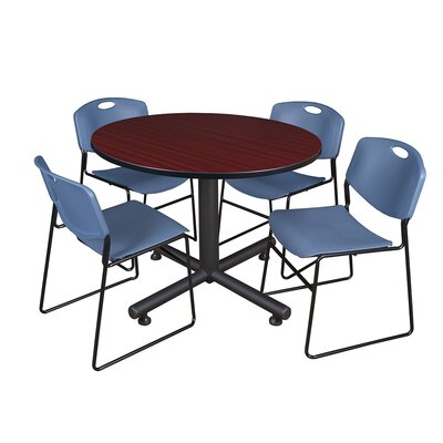 Kobe Round 5 Piece Breakroom Table and Chair Set Table Finish: Mahogany, Chair Finish: Blue