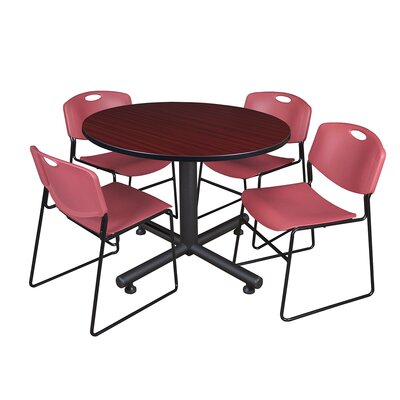 Kobe Round 5 Piece Breakroom Table and Chair Set Table Finish: Mahogany, Chair Finish: Burgundy