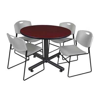 Kobe Round 5 Piece Breakroom Table and Chair Set Table Finish: Mahogany, Chair Finish: Gray