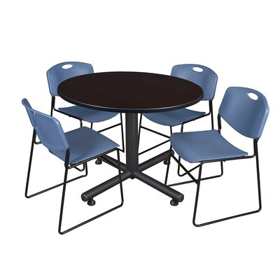 Kobe Round 5 Piece Breakroom Table and Chair Set Table Finish: Mocha Walnut, Chair Finish: Blue