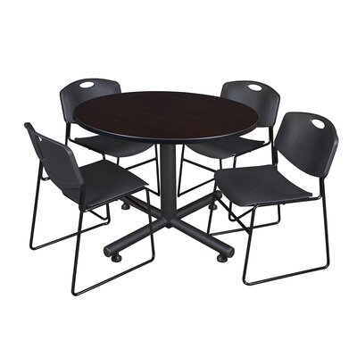 Kobe Round 5 Piece Breakroom Table and Chair Set Table Finish: Mocha Walnut, Chair Finish: Black