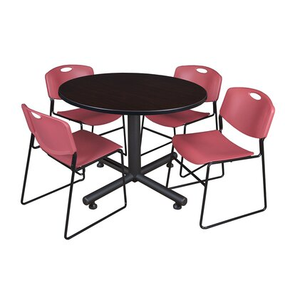 Kobe Round 5 Piece Breakroom Table and Chair Set Table Finish: Mocha Walnut, Chair Finish: Burgundy