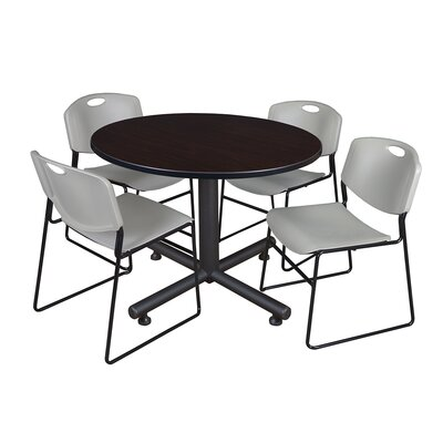 Kobe Round 5 Piece Breakroom Table and Chair Set Table Finish: Mocha Walnut, Chair Finish: Gray