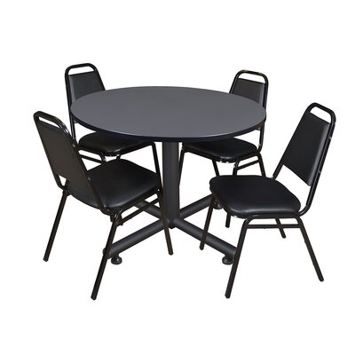 Kobe Round 5 Piece Breakroom Table and Chair Set Table Finish: Gray Laminate