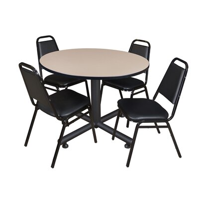 Kobe Round 5 Piece Breakroom Table and Chair Set Table Finish: Beige Laminate