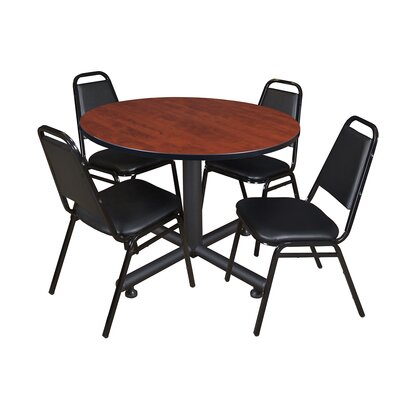 Kobe Round 5 Piece Breakroom Table and Chair Set Table Finish: Cherry Laminate