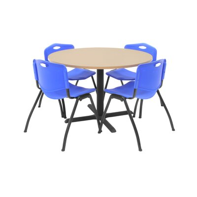 Hospitality Round Table with Chairs Chair Color: Blue, Size: 36