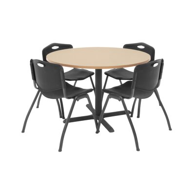 Hospitality Round Table with Chairs Chair Color: Black, Size: 36