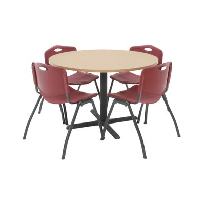 Hospitality Round Table with Chairs Chair Color: Burgundy, Size: 36